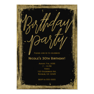 Gold Unique Glamour Grunge Birthday Party Card