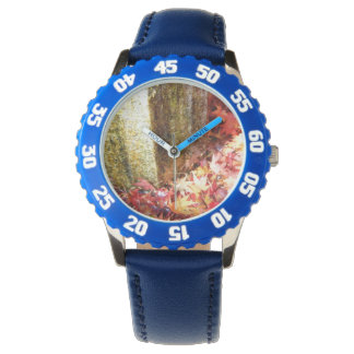 Gold. Unique watch. Tinted autumn leaves handle Wristwatch