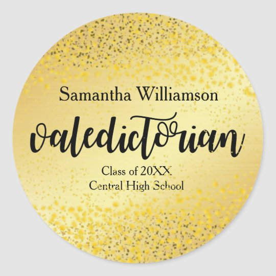 Gold Valedictorian Personalised Gold Sticker