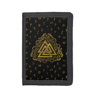Gold Valknut Symbol on Runes Pattern Tri-fold Wallet