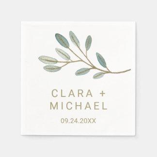 Gold Veined Eucalyptus Wedding Paper Napkin