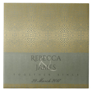 GOLD VELVET GREY MOSAIC DOTS SAVE THE DATE GIFT TILE