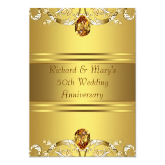 Gold Victorian Flowers Gold 50th Anniversary Card