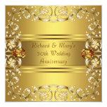 Gold Victorian Flowers Gold 50th Anniversary Custom Invites