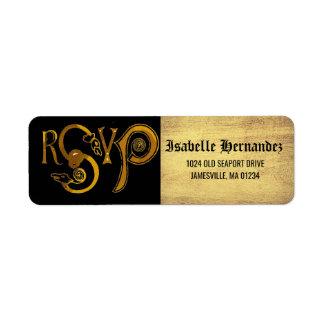 Gold Victorian RSVP Return Address Label