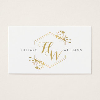 Gold Vine and Leaf Monogram Emblem Business Card