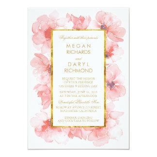 Gold Vintage Blush Floral Wedding Card