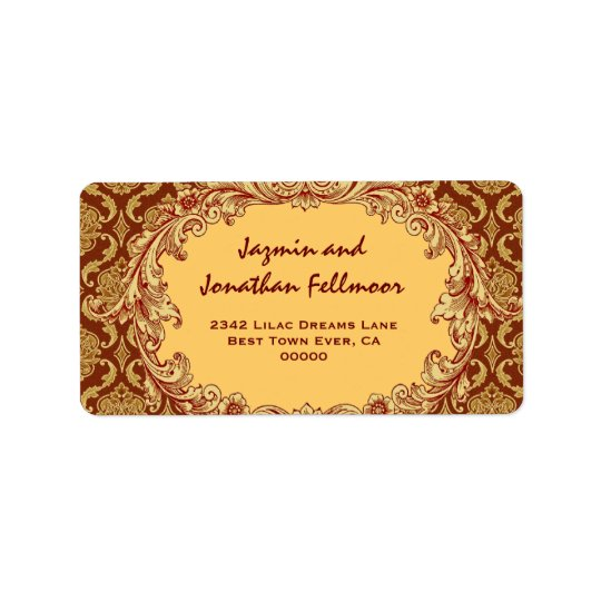 Gold Vintage Curlicue Damask S455 Label