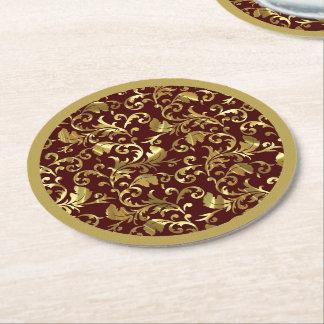 Gold Vintage Damasks Dark Brown Round Paper Coaster