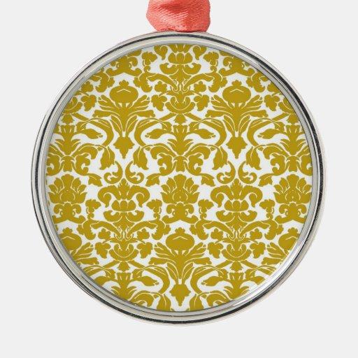 Gold Vintage Floral Damask Ornament