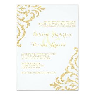 "Gold Vintage Glamour Elegance Wedding Invitation 5"" X 7"" Invitation Card"