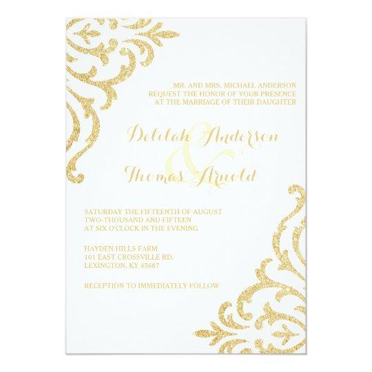 Vintage Glam Wedding Invitations: Gold Vintage Glamour Elegance Wedding Invitation