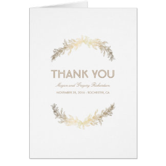 Gold Vintage Laurel Wedding Thank You Card