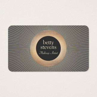 Gold Vintage  Makeup Artist Glamorous Chic Black Business Card