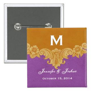 Gold Vintage Ornate Curlicue Frame Monogram Weddin Buttons
