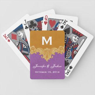 Gold Vintage Ornate Curlicue Frame Monogram Weddin Bicycle Playing Cards