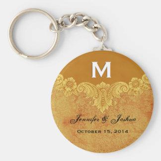 Gold Vintage Ornate Curlicue Frame Monogram Weddin Keychains