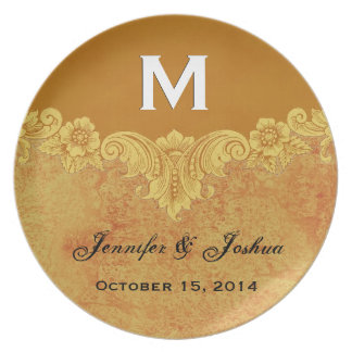 Gold Vintage Ornate Curlicue Frame Monogram Weddin Party Plates