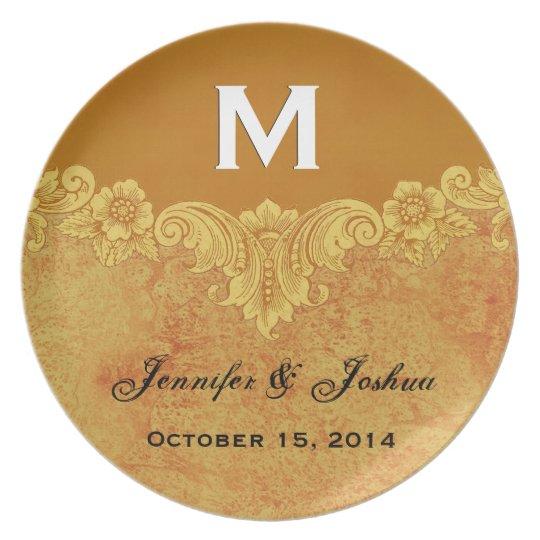 Gold Vintage Ornate Curlicue Frame Monogram Weddin Plate