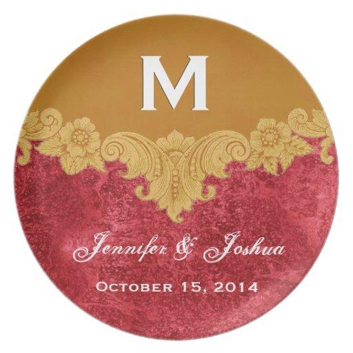 Gold Vintage Ornate Curlicue Frame Monogram Weddin Party Plate