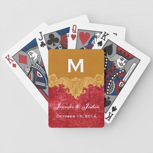 Gold Vintage Ornate Curlicue Frame Monogram Weddin Poker Deck
