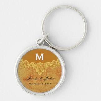 Gold Vintage Ornate Curlicue Frame Monogram Weddin Silver-Colored Round Key Ring