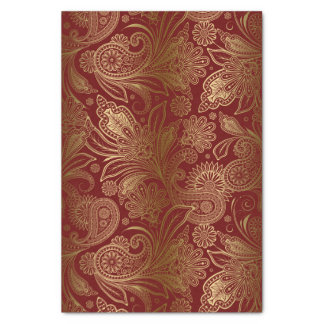 Gold Vintage Paisley Over Burgundy Red Background Tissue Paper