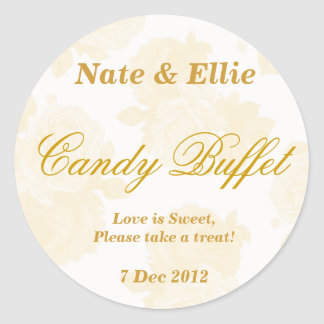 Gold Vintage Rose Candy Buffet Sticker