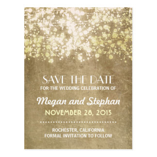 Gold vintage string lights save the date PORTCARDS Postcard
