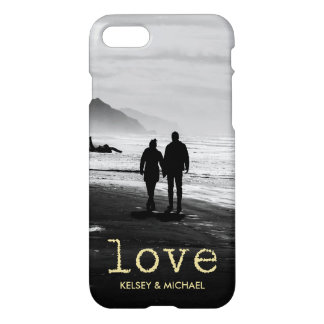 Gold Vintage Typewriter Text Love Add Your Photo iPhone 7 Case