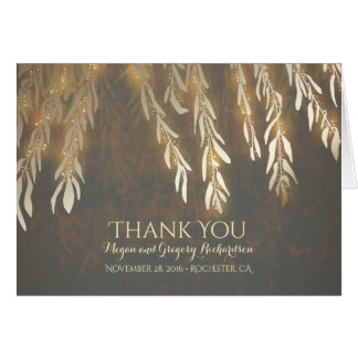 Gold Vintage Willow Tree Wedding Thank You Note Card