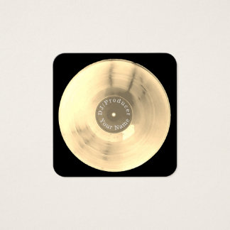 Gold vinyl record disc dj production square business card