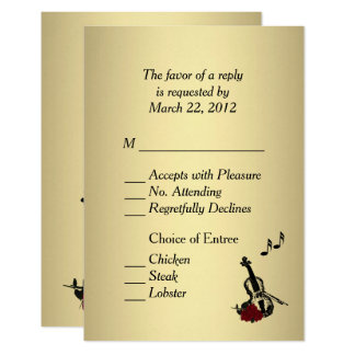 Gold Violin Music RSVP with Entree Choices Card