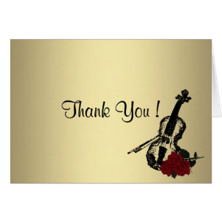 Gold Violin Thank You Card Blank Inside
