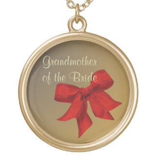 Gold w/Red Bow GRANDMOTHER OF THE BRIDE Necklace Personalized Necklace