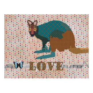 Gold Wallaby Love Pokadot Postcard