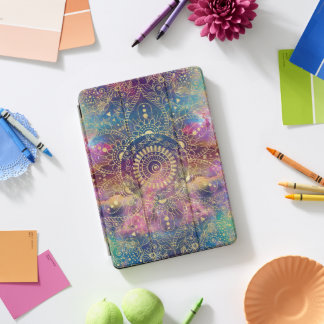 Gold watercolor and nebula mandala iPad pro cover