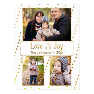 Gold Watercolor Beading Holiday Photo Card