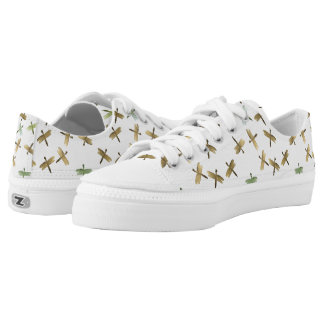Gold Watercolor Dragonflies Printed Shoes
