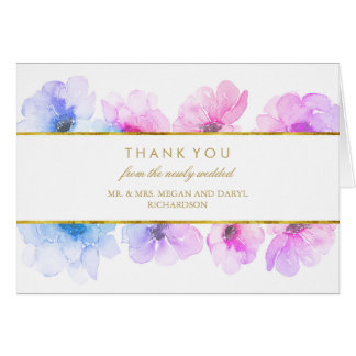 Gold Watercolor Floral Blue Purple Thank You Card