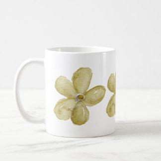 Gold Watercolor Flowers Classic White Coffee Mug