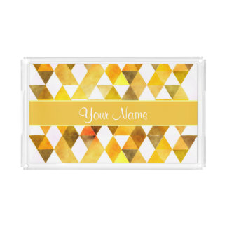 Gold Watercolor Geometric Triangles Acrylic Tray