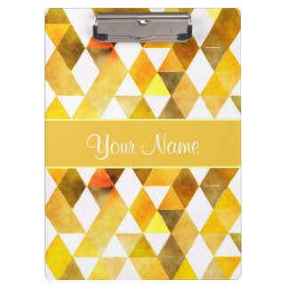 Gold Watercolor Geometric Triangles Clipboard