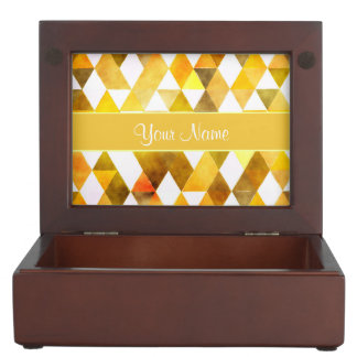 Gold Watercolor Geometric Triangles Keepsake Box