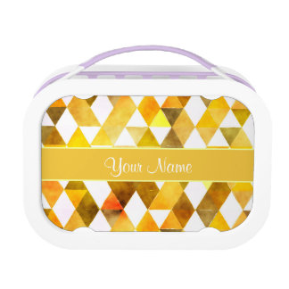 Gold Watercolor Geometric Triangles Lunch Box