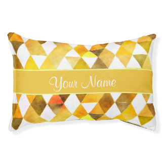 Gold Watercolor Geometric Triangles Pet Bed