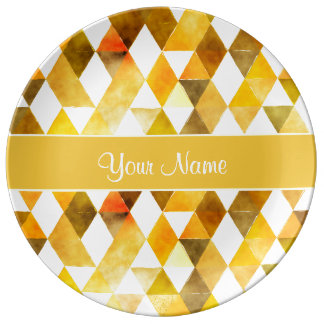 Gold Watercolor Geometric Triangles Porcelain Plates