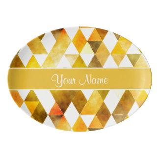Gold Watercolor Geometric Triangles Porcelain Serving Platter