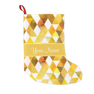 Gold Watercolor Geometric Triangles Small Christmas Stocking