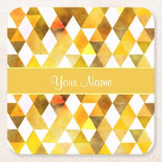 Gold Watercolor Geometric Triangles Square Paper Coaster